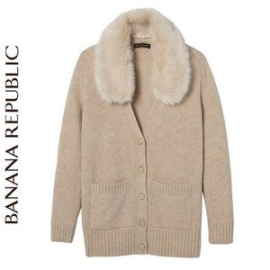 Banana Republic Boyfriend Cardigan Faux Fur